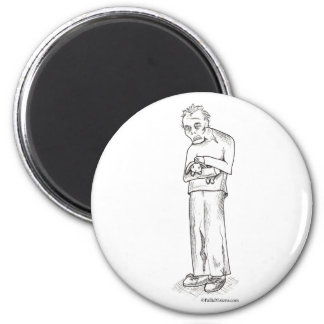 Zombie with Bunny 2 Inch Round Magnet