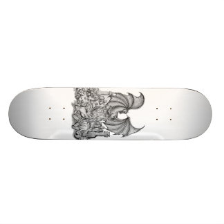 Zombie with dragon pencil drawing skateboard