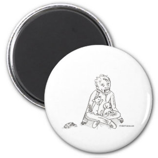 Zombie with Puppies 2 Inch Round Magnet