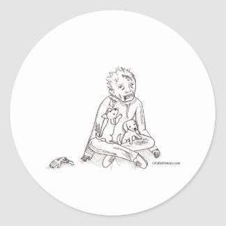 Zombie with Puppies Classic Round Sticker