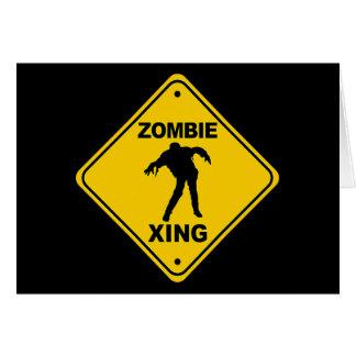 Zombie Xing Crossing Halloween Card