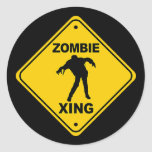 Zombie Xing Crossing Halloween Classic Round Sticker