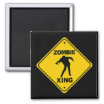 Zombie Xing Crossing Halloween 2 Inch Square Magnet
