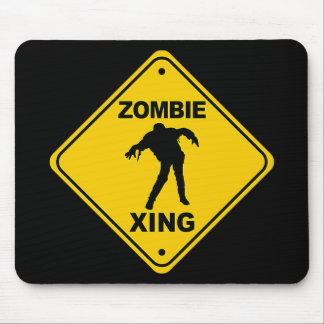 Zombie Xing Crossing Halloween Mouse Pad