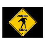 Zombie Xing Crossing Halloween Post Card