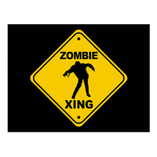 Zombie Xing Crossing Halloween Postcard