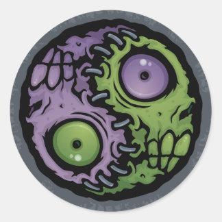 Zombie Yin-Yang Classic Round Sticker