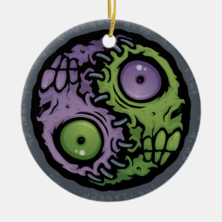 Zombie Yin-Yang Double-Sided Ceramic Round Christmas Ornament