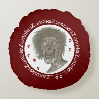 Zombie,Zombies! Black/White/Deep Red Round Pillow