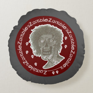 Zombie,Zombies! Black/White/Deep Red style 2 Round Pillow