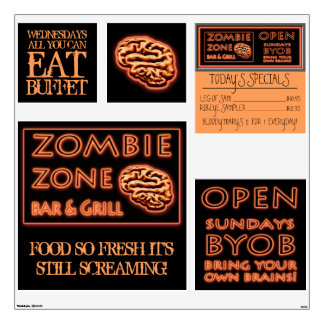 ZOMBIE ZONE All You Can Eat BYOB Halloween Props Wall Sticker