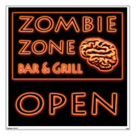ZOMBIE ZONE Bar Grill Fake Neon Sign Halloween Wall Stickers