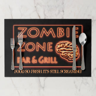 Zombie Zone Bar & Grill Funny Halloween Theme Paper Placemat