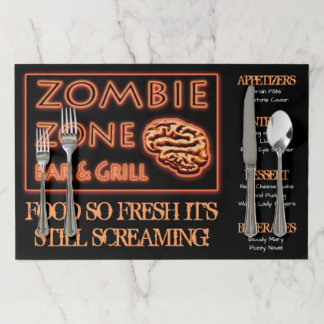 Zombie Zone Bar & Grill Menu Funny Halloween Theme Paper Placemat