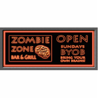 ZOMBIE ZONE Bar N Grill Fake Neon Sign BYOB Brains Photo Cut Outs