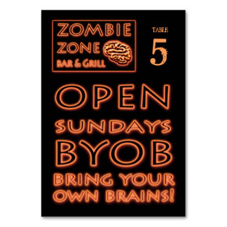 Zombie Zone BYOB Bring Your Own Brains Halloween Table Card