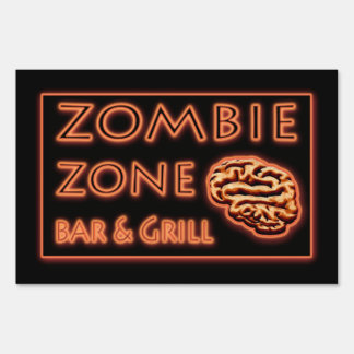 ZOMBIE ZONE  Fake Neon Sign Halloween