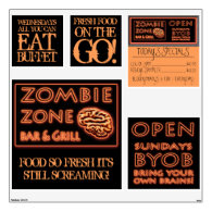 ZOMBIE ZONE FRESH FOOD ON THE GO Halloween Props Wall Stickers