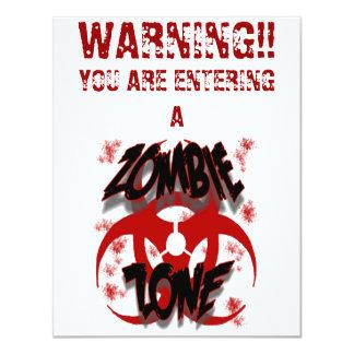 "ZOMBIE ZONE 4.25"" X 5.5"" INVITATION CARD"