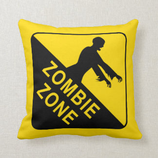 Zombie Zone, Warning Sign Throw Pillow