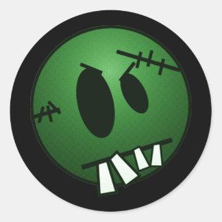 ZOMBIECON FACE - GREEN CLASSIC ROUND STICKER