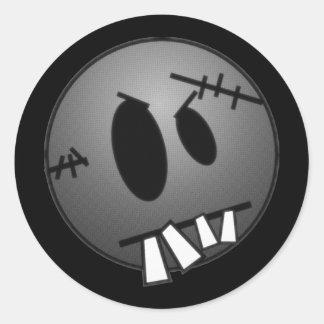 ZOMBIECON FACE - GREY B&W ROUND STICKERS