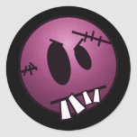 ZOMBIECON FACE - PINK ROUND STICKERS