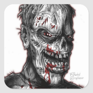zombieface_bw square sticker
