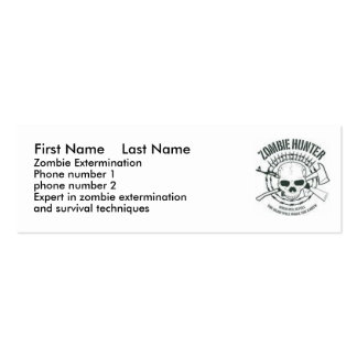 zombiehunter, First Name    Last Name, Zombie E... Double-Sided Mini Business Cards (Pack Of 20)