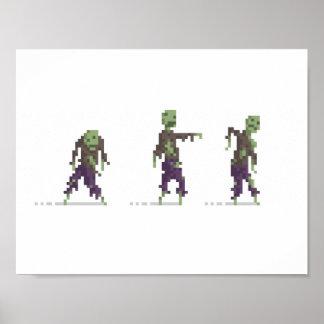Zombies 8-Bit Pixel Art Poster