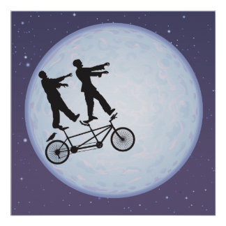 Zombies Apocalypse Cyclists in Love Poster