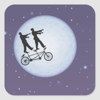 Zombies Apocalypse Cyclists in Love Square Sticker