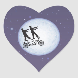 Zombies Apocalypse Cyclists in Love Heart Sticker