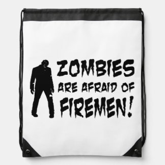 Zombies Are Afraid Of Firemen Drawstring Backpack