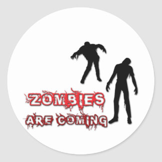Zombies Are Coming Classic Round Sticker