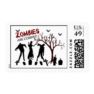 Zombies Are Coming Postage Stamps