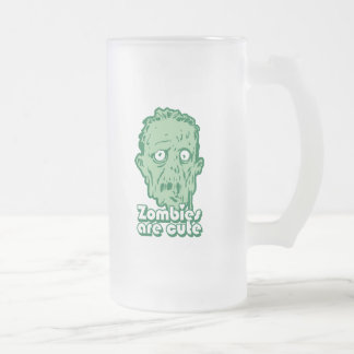 Zombies Are Cute Frosted Glass Beer Mug