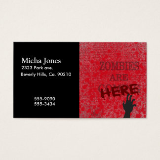 Zombies Are Here Blood Splattered Newspaper Business Card