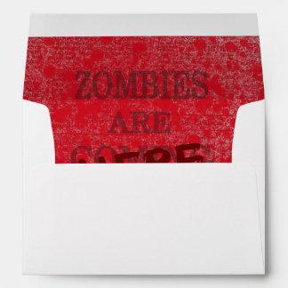Zombies Are Here Blood Splattered Newspaper Envelope