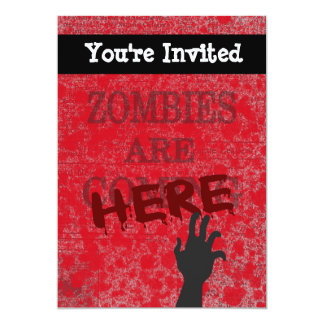 Zombies Are Here Blood Splattered Newspaper 5x7 Paper Invitation Card