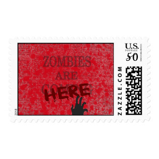 Zombies Are Here Blood Splattered Newspaper Postage