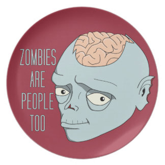 Zombies Are People Too Party Plate