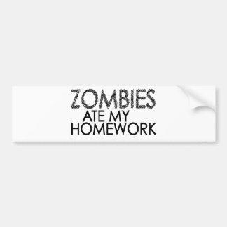 Zombies at my Homework Bumper Sticker