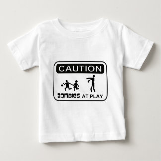Zombies At Play Caution Sign BLACK Design Baby T-Shirt