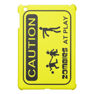 Zombies At Play Caution Sign BLACK Design iPad Mini Cases