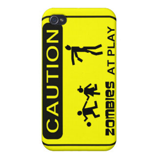 Zombies At Play Caution Sign BLACK Design iPhone 4 Cases