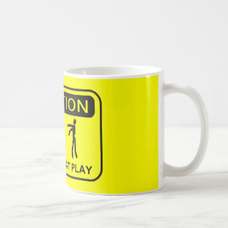 Zombies At Play Caution Sign BLACK Design Coffee Mug