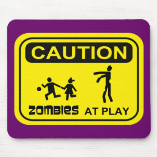 Zombies At Play Caution Sign YELLOW Design Mouse Pads