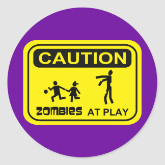 Zombies At Play Caution Sign YELLOW Design Stickers
