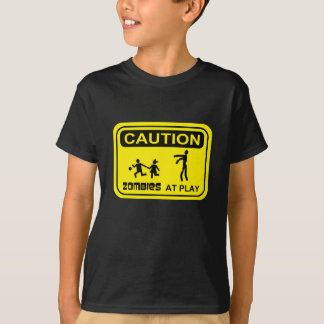 Zombies At Play Caution Sign YELLOW Design T-Shirt